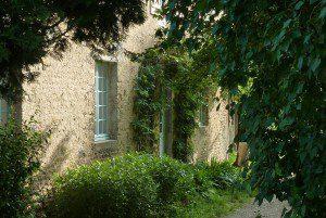 Haus mit Pflanzen vor Eingang